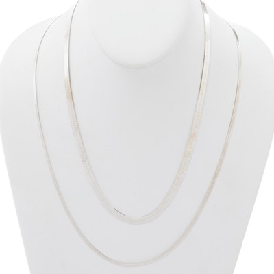 Italian Sterling Silver Herringbone Link Chain Necklaces