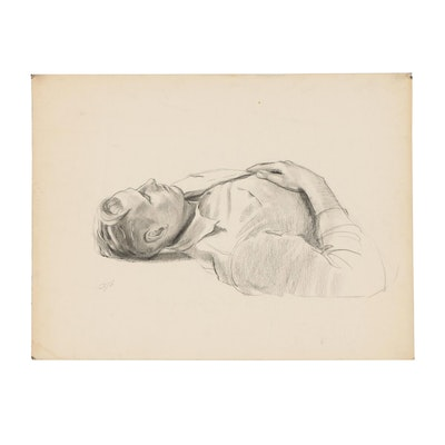 Edmond Fitzgerald Graphite Drawing of Recumbent Man