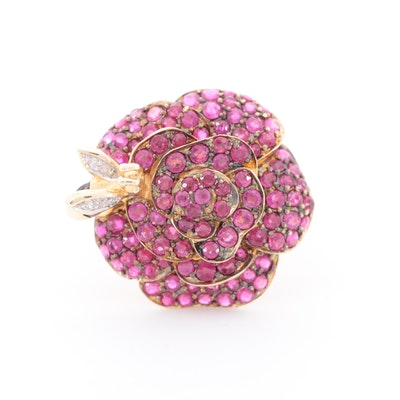 14K Yellow Gold Ruby and Diamond Rose ans Insect Motif Ring