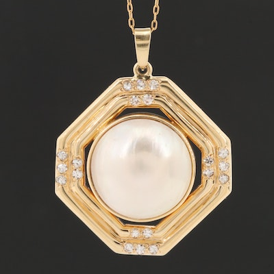 14K Yellow Gold Mabé Pearl and Diamond Pendant on Gold Filled Chain Necklace