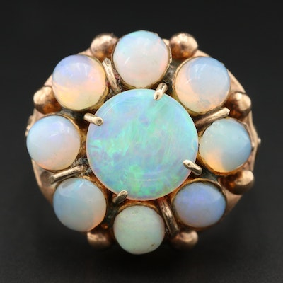Victorian 8K Yellow Gold Opal Ring