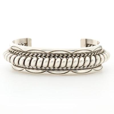 Franklin and Verna Tahe Navajo Diné Sterling Silver Cuff Bracelet