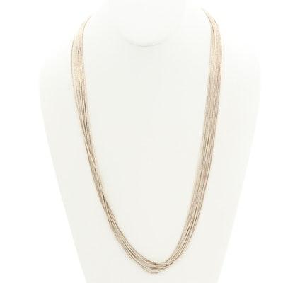 Southwestern Style Sterling Silver Liquid Silver Multi-Strand Necklace