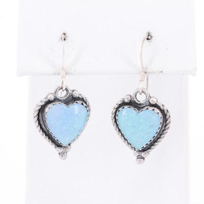 Sterling Silver Opal Heart Earrings