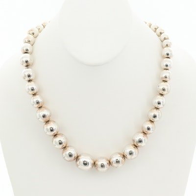 Mexican Sterling Silver Graduated Bead Necklace