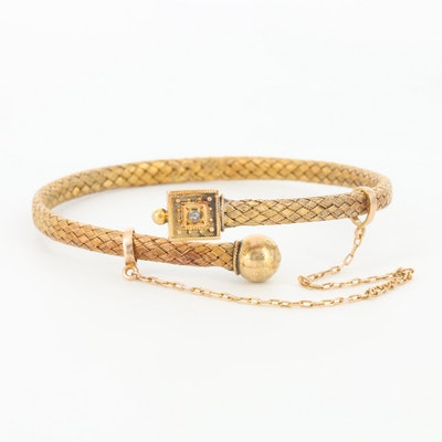 Victorian Etruscan Revival Diamond Braided Bracelet