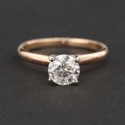 14K Yellow Gold 1.01 CT Diamond Solitaire Ring