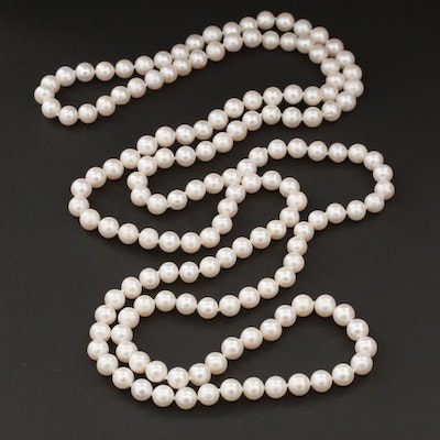 Cultured Pearl Strand Hand Knotted Endless Necklace