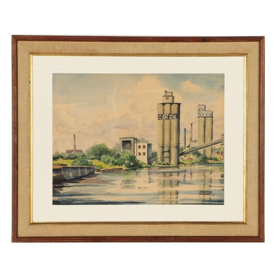 Dorothy Zigrossi Watercolor Painting of Industrial Landscape