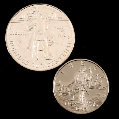 1992 Columbus Quincentenary Commemorative Proof Coin Set, Including Silver