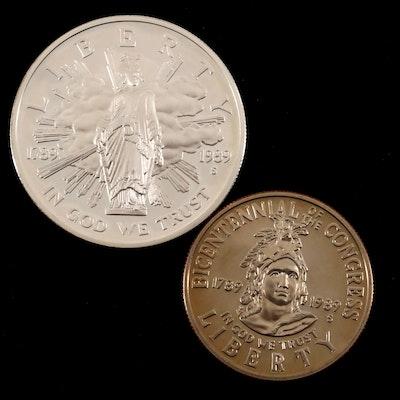 1989 Congress Bicentennial Commemorative Proof Coin Set, Including Silver