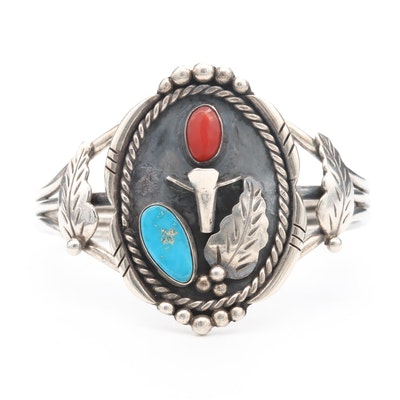 Southwestern Style Sterling Silver Coral and Turquoise Shadowbox Cuff Bracelet