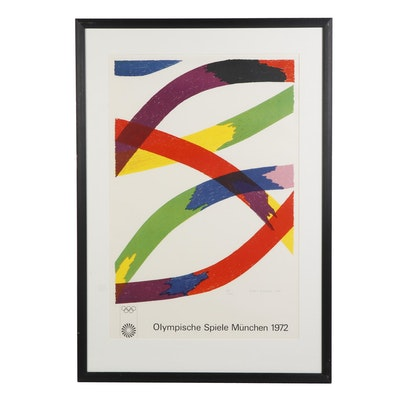 """Piero Dorazio Lithograph Poster for the 1972 Olympic Games """"Colored Ribbons"""""""