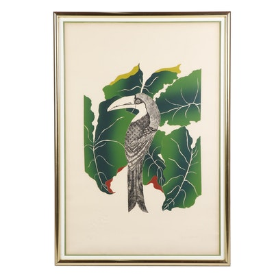 """Jonna White Lithograph and Etching """"Toucan"""""""