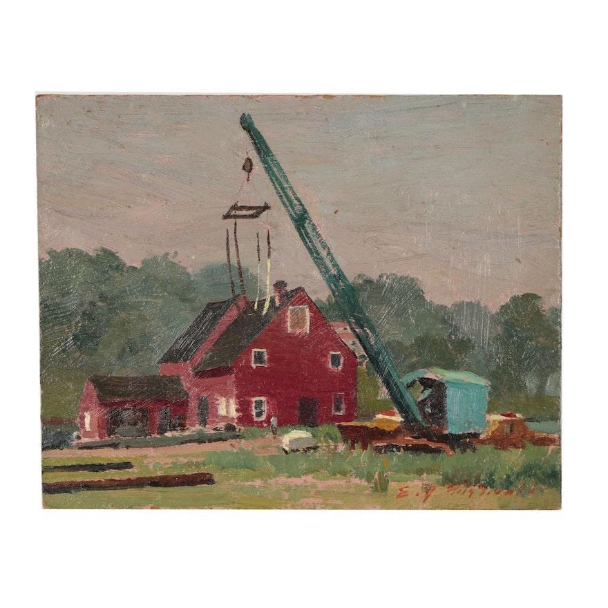 Edmond Fitzgerald Oil Painting of Farm Scene