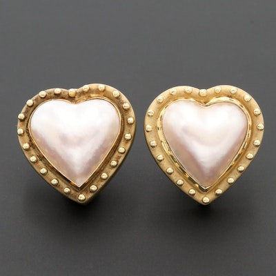 14K Yellow Gold Cultured Pearl Heart Earrings