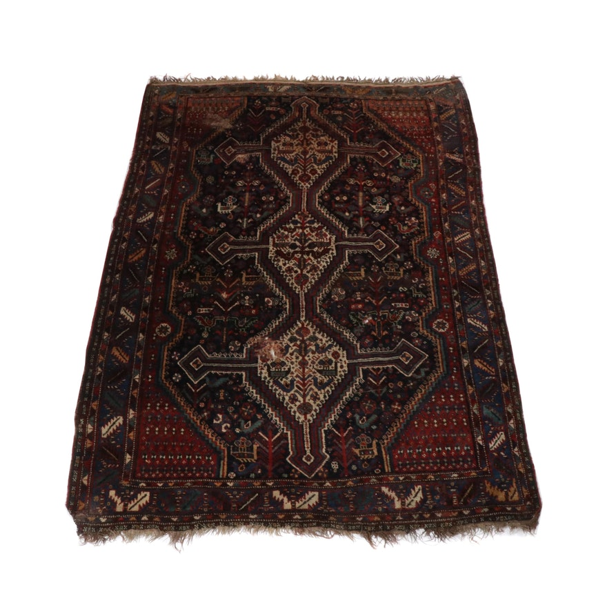Hand-Knotted Persian Qashqai Shiraz Rug