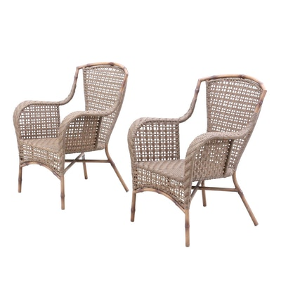 Pair of Synthetic Woven Patio Arm Chairs