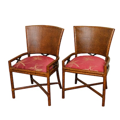 Ficks Reed Double-Cane Side Chairs with Tortoise Shell Style Frames