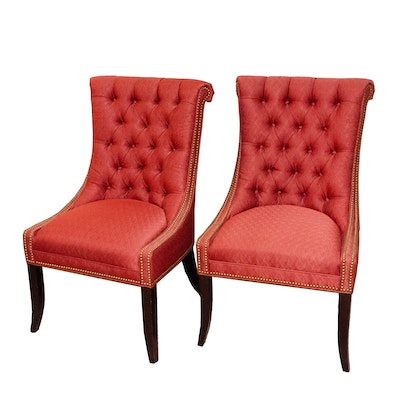Tufted Upholstered Side Chairs with Nailhead Details