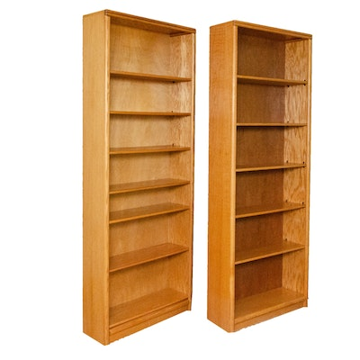 Pairing of 7' Oak Library Bookcases