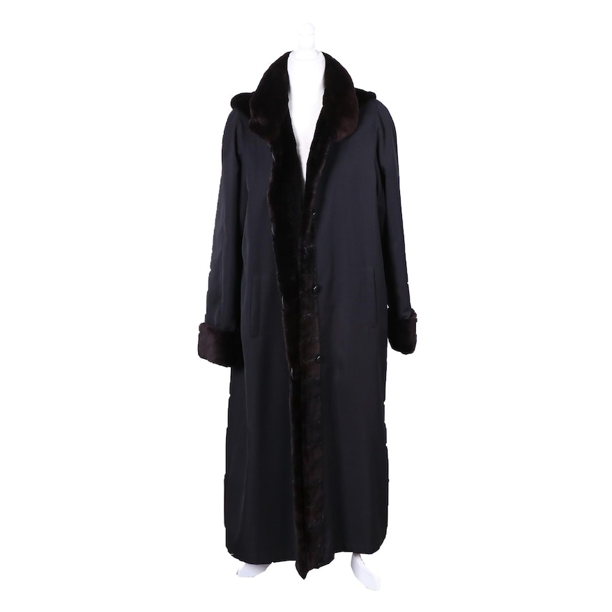Sheared Beaver Fur Trimmed Button-Front Coat with Removable Hood