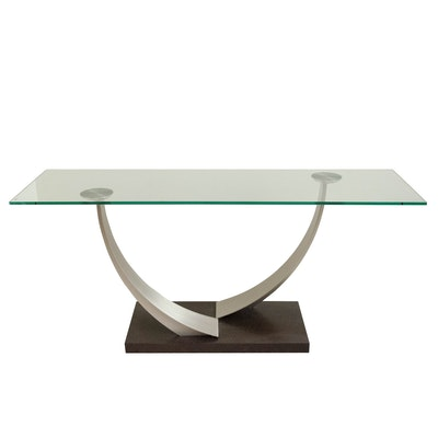 Modernist Style Glass and Brushed Chrome Console Table