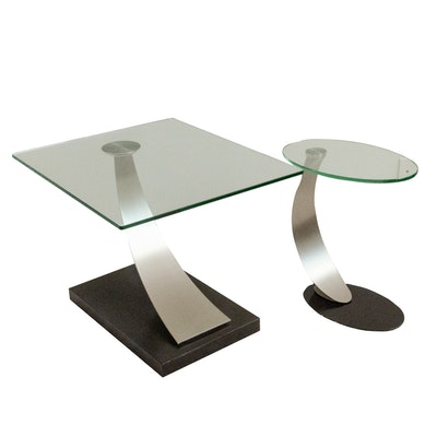 Modernist Style Glass and Brushed Chrome Side Tables