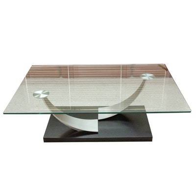 Modernist Style Glass and Brushed Chrome Coffee Table