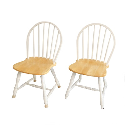 Pairing of Windsor Maple and Whitewash Dining Chairs