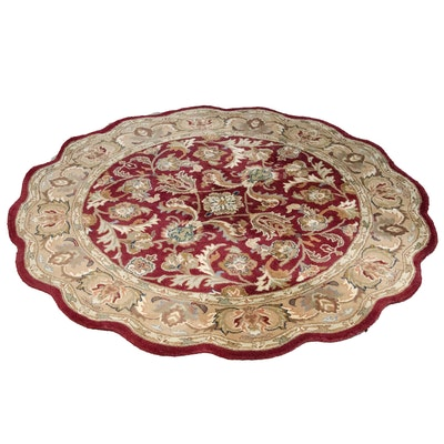 Machine Made Round Wool Rug with Scalloped Border