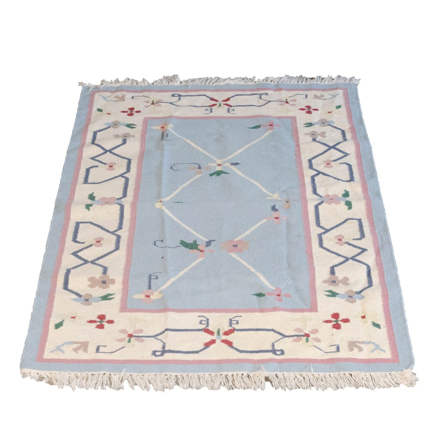 Hand Woven Floral Wool Rug