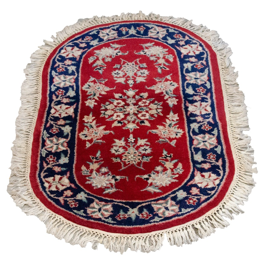 Handwoven Floral Wool Accent Rug