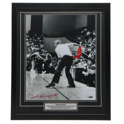 "Framed Bobby Knight Signed ""Chair Throwing"" Photo Print  COA"