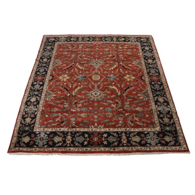 Hand-Knotted Persian Heriz Wool Area Rug