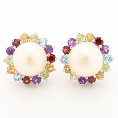 Sterling Silver Cultured Pearl, Amethyst, Topaz and Gemstone Earrings