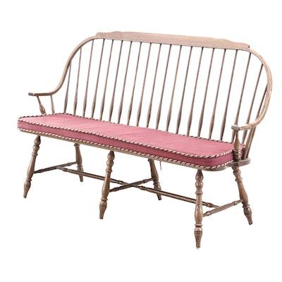 Oak Windsor Style Bench, Late 20th Century
