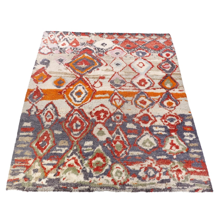 Hand-Knotted Moroccan Berber Wool Area Rug