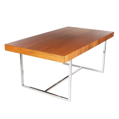 Calligaris Spa Italian Walnut and Steel Draw-Leaf Dining Table