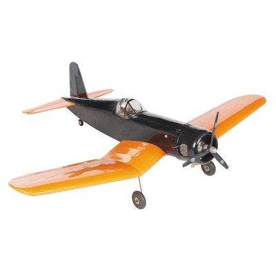 Large Orange and Black Model Airplane, Vintage