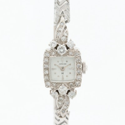 Hamilton 14K White Gold and 1.08 CTW Diamonds Wristwatch