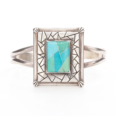 Carolyn Pollack for Relios Sterling Silver Turquoise Inlay Cuff Bracelet