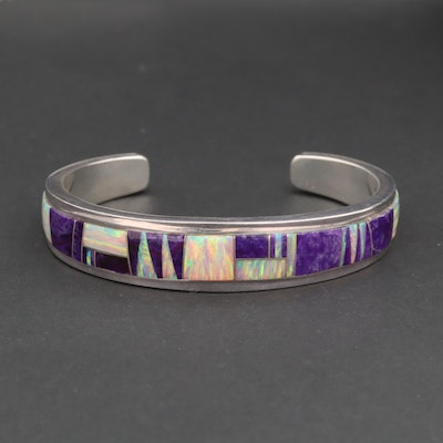 Southwestern Style Sterling Silver Synthetic Opal and Sugilite Cuff Bracelet