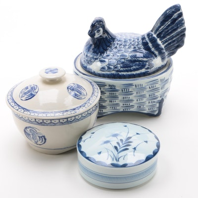 Blue and White Hen on Nest with Other East Asian Ceramics