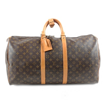 Louis Vuitton Paris Monogram Canvas and Leather Keepall 50 Duffle Bag with Key