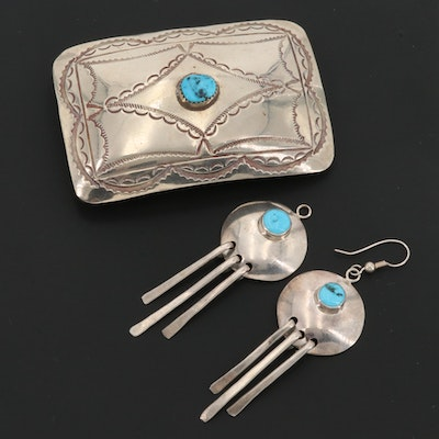 Southwestern Style Sterling Silver Turquoise Dangle Earrings and Belt Buckle