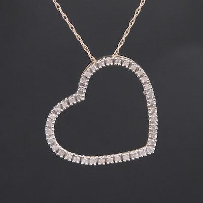 10K Yellow Gold Diamond Heart Pendant Necklace
