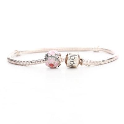 Pandora Sterling Silver Bracelet With Enamel Charm Bead
