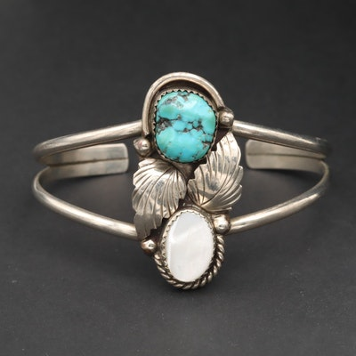 Southwestern Style Turquoise and Mother Of Pearl Cuff Bracelet