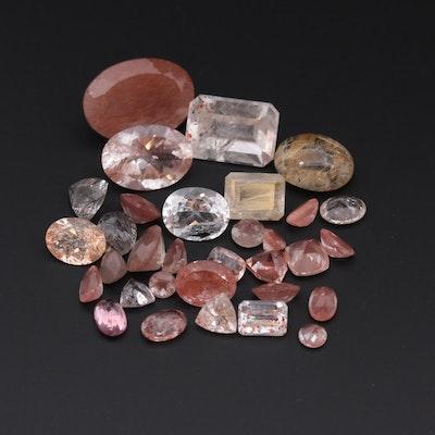 Loose 51.54 CTW Gemstones Including Rutilated and Tourminalated Quartz